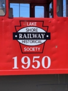 Close up of train with logo
